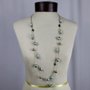 Silver Long Layered Necklace